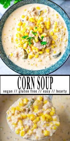 This Corn Soup is made from simple ingredients with a great texture and will be a family favorite in no time. After the first bowl you know it is a keeper, that even pickiest eaters will devour it and you never know it is vegan. #vegan #dairyfree #vegetarian #dinner #lunch #contentednesscooking #mealprep #cornsoup
