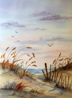 Watercolor of Beach Seascape Birds Flying by Colorado Artist Martha KIsling Beach Watercolor, Watercolor Pictures, Watercolor Landscape, Watercolour Painting, Painting & Drawing, Watercolor Brushes, Watercolors, Watercolor Scenery, Drawing Birds