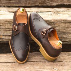 Custom Made Single Monks in Dark Brown and Black Pebble Grain Leather