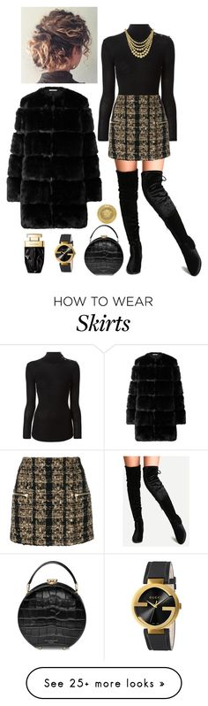 """""""Black and Gold"""" by megan-maddalena on Polyvore featuring Balmain, Marco Bicego, Aspinal of London, Givenchy, Gucci and Versace"""