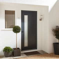 Contemporary Grey Aluminium Glazed External Front door & frame - B&Q for all your home and garden supplies and advice on all the latest DIY trends - June 11 2019 at Glazed External Doors, External Front Doors, Front Door Planters, Glass Front Door, Grey Front Doors, Back Doors, Modern Exterior Doors, Interior Barn Doors, Latest Door Designs