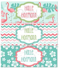 Personalized Waterproof Labels Waterproof Stickers Name Label Dishwasher Safe Daycare Label School Label - Flamingo, 30 piece set by babyfables on Etsy https://www.etsy.com/listing/294618897/personalized-waterproof-labels