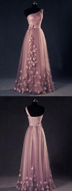Long Prom Dresses Pink,2018 Party Dresses A-line, One Shoulder Formal Evening Dresses Modest