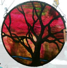 This is a picture of the Tree of Peace, a intermediate stained glass course offered here at Muk Luk Magpies Stained Glass Emporium.