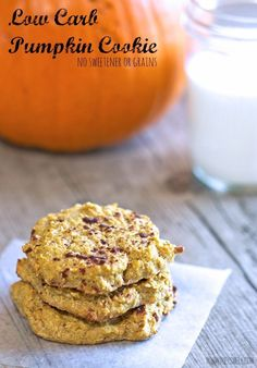 Low Carb Pumpkin Cookie. A healthy dessert recipe that is perfect for fall, yet made with all clean eating ingredients! Pin now to try this healthy cookie later.