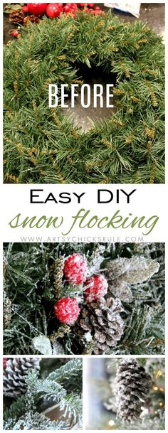 Want that magical look of just fallen snow? You can get it (and put it on everything! ;) ) I'm sharing how in this post on DIY snow flocking.
