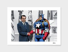 The Captain Meets Tricky Dicky // Stretched Canvas Dan Avenell is an artist, illustrator, and graphic designer based in London, UK. His pieces are vibrant, colorful and teeming with recognizable figures from com Superhero City, Science Fiction, Fine Art Prints, Comic Books, Dan, Comics, Illustration, Artist, Artwork