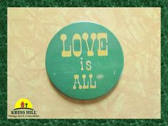 SALE Love Is All Vintage Pinback Button Made by KressHillVintage, $10.50