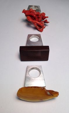 Heidi Abrahamson Three Elements, Amber, Rosewood, Coral,  Sterling Rings