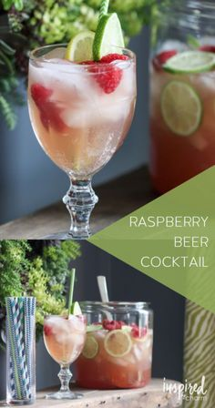 """Raspberry Beer Cocktail - great """"punch"""" for the spring and summertime. Great for serving a crowd. And don't worry, even if you don't like beer, you'll love this cocktail."""
