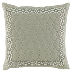D899  Lacefield Quilted Spa Linen 22x22 Pillow with Spa Florence Tape www.lacefielddesigns.com #pillows #lacefielddesigns