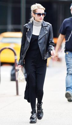 Emma Roberts layers her turtleneck with a dress + leather jacket.