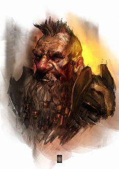 Dwarf portrait, Murat Gül on ArtStation at https://www.artstation.com/artwork/5eQLW