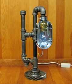 Steampunk Table Lamp Caged Light