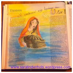 I admire Jochebed. How she trusted child into Gods hands in a time of extreme hostility... Bible journaling. Dutch craftbijbel