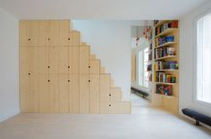 AP17_Appartement C - Paris - SCHEMAA, agence d'architecture Schema Architectes, Paris wood stairs storage