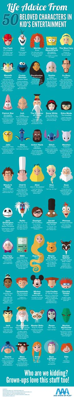 Life Advice from 50 Beloved Characters in Kid's Entertainment. #Infographic #Frozen #SpongeBob #Cinderella #Disney #SesameStreet #Dreamworks #cartoons #quotes #inspiration
