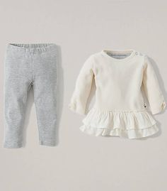 Thermal Dress and Mini Stripe Legging Set: Color - Ivory