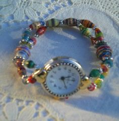 Cute watch made with paper beads from www.paperbead.org