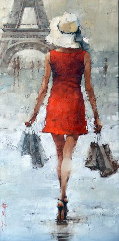 """""""Retail Therapy"""", Parisian style"""" by Andre Kohn. 36"""" x 18"""" Limited Edition Giclee Print Available www.andrekohnfineart.com"""