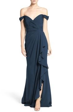 Badgley Mischka Off the Shoulder Silk Gown available at #Nordstrom