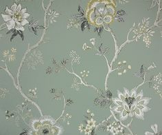 Indienne Wallpaper A wide width floral wallpaper based on 18th century Southern Indian chintz designs, printed in indigo, yellow, cream and taupe on a sage green background.
