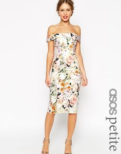 LOVE.... NOT AVAIL!! :( $125 ASOS+PETITE+WEDDING+Bardot+Floral+Off+Shoulder+Pencil+Dress