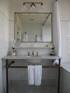 Classic bathroom, brass and marble, subway tile, brass accents, bathroom design