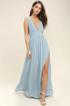 Lulus Exclusive! You'll be goddess-like for the entire evening in the Heavenly Hues Light Blue Maxi Dress! Georgette fabric drapes alongside a V-neck and back, and lays across a banded waist. Full maxi skirt has a sexy side slit. Hidden back zipper with clasp.