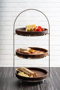 3-Tier Glass Serving Tray Apple Plate Decorative Buffet Display Stand