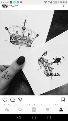 King&queen- King&queen King&queen - – Tattoo World Queen Crown Tattoo, King Queen Tattoo, King Tattoos, Body Art Tattoos, Small Tattoos, Queen Tattoo Designs, Crown Tattoo Design, Couples Tattoo Designs, Partner Tattoos