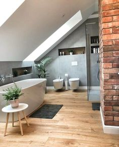 best attic bathroom design ideas you have to see page 37 Attic Bathroom, Small Bathroom, Bathroom Ideas, Budget Bathroom, Bathroom Bath, Bath Tub, Bathroom Furniture, Handicap Bathroom, Bathroom Canvas
