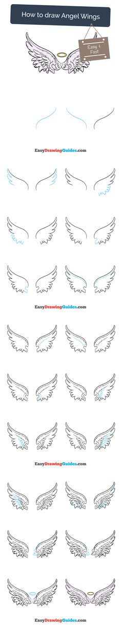 Learn How to Draw Angel Wings: Easy Step-by-Step Drawing Tutorial for Kids and Beginners. #AngelWings #drawingtutorial #easydrawing See the full tutorial at https://easydrawingguides.com/how-to-draw-angel-wings/.