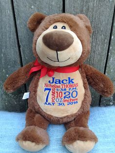 Personalized Baby Gift Monogrammed Brown Bear Birth Announcement by WorldClassEmbroidery, $42.99 Brown Blue Red Teddy Bear Baby Boy