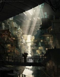 Concept art by Eddie J Del Rio.More concept art here. Another thing if like to try Fantasy City, Fantasy Places, Fantasy World, Dark Fantasy, Pixiv Fantasia, Concept Art World, Fantasy Concept Art, Underground Cities, Futuristic City
