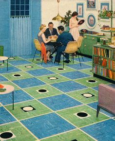 Bridge Night - detail from 1953 KenFlex Vinyl Tile ad. And later on that night, drunk Twister on the carpet. Mid Century Decor, Mid Century Style, Mid Century House, Mid Century Modern Design, Retro Room, Vintage Room, Vintage Homes, Kitsch, Mid-century Interior