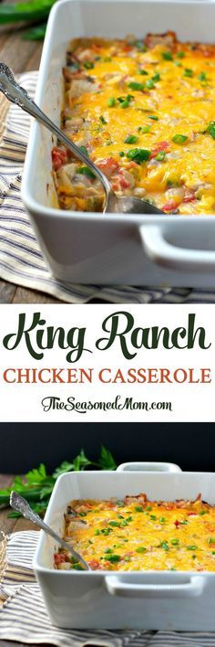 Just 10 minutes of prep for this freezer-friendly, easy dinner: King Ranch Chicken Casserole! Dinner Recipes | Dinner Ideas | Easy Dinner Recipes | Easy Dinners | Chicken Recipes