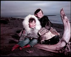 A view as the Inuit of Alaska as two boys pose on the beach in Alaska circa 1955 http://www.gettyimages.co.uk/photos/inuit-of-alaska-michael-ochs?excludenudity=false&family=editorial&page=1&phrase=inuit%20of%20alaska%20michael%20ochs&sort=oldest