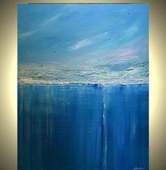 Blue  Abstract  Painting  Seascape Art Reflections of Yesterday Series 28X22  MADE TO ORDER