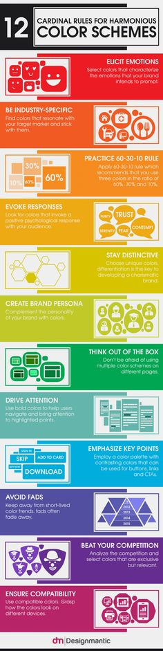 12 Cardinal Rules For Harmonious Color Schemes Infographic
