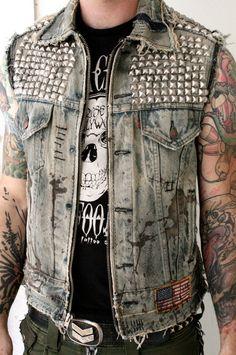 Acid Denim Studded Vest by BoneBlack on Etsy, $568.00