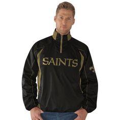 New Orleans Saints Pregame Quarter-Zip Pullover Jacket - Black