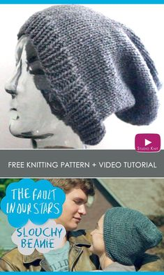 How to Knit a Slouchy Beanie with Free Knitting Pattern + Video Tutorial by Studio Knit via @StudioKnit