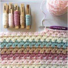 Time for another blanket. I can't believe I've never done a granny stripe before 😳 I'm using pretty, soft, muted tones for this one in a repeating order 🌸 Crochet Blanket Patterns, Crochet Motif, Crochet Yarn, Crochet Stitches, Free Crochet, Knitting Patterns, Yarn Color Combinations, Colour Schemes, Yarn Inspiration