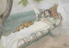 Carl Larsson, Young Girl Stretched Out On A Bench, 1913