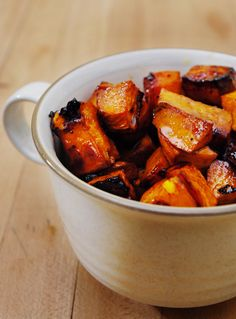 Roasted Balsamic Sweet Potatoes  * quick preparation and cook time,ideal as a weekday course.  * heat oven to 400 degrees * bring vinegar and sugar to a boil * reduce till sauce starts to thicken * add butter and salt * place potatoes in pan and toss mixture into a baking pan * roast about 40 minutes.
