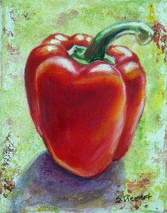 Pepper Painting - Red Pepper 1 by Sheila Diemert