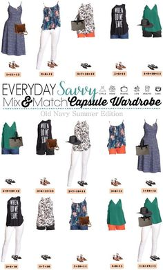 Are you ready for summer? This new Old Navy Summer capsule wardrobe is for you. I love the fun graphic tee, cute patterned tanks, and the fringe crossbody bag that is so on trend this year. This set has just 14 pieces with includes two pairs of shoes, two bags and a hat!!! outfit, dress, style, fashion, women , diy