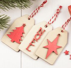 Ideas to make wooden gift tags for Christmas using mini embellishments and bakers twine. Christmas Crafts, Christmas Ornaments, Wooden Shapes, Fancy Nancy, Bakers Twine, Wooden Gifts, Craft Materials, Craft Gifts, Gift Tags