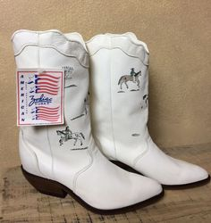 Vintage Zodiac Frontier White Leather Western Boots Soft w ArtworkSize 9 Womans #Zodiac #CowboyWestern #Festival
